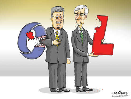 Political Cartoon dealing with Dion and Harper