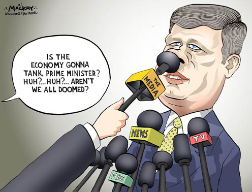 Media Pushes Prime Minister Harper over Possible Economic Doomsday