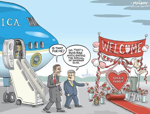 Obama Visits Canada, While Bob Rae Sends a Omar Khadr a Valentine