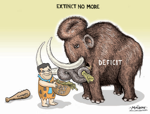 Find a cartoon depicting Finance Minister, Flaherty feeding the deficit with tax cuts