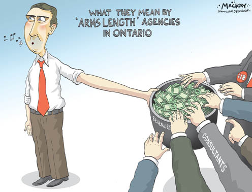 Find a political cartoon depicting government friendly consultants getting gener