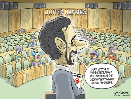 Ahmadinejad's Speech to the UN General Assembly and the Clowns that Stayed